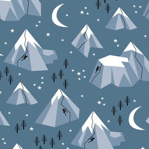 Geometric blue mountains climbing and bouldering new moon night winter cool blue