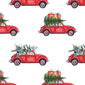 "5"" Holiday Christmas Tree Car and dachshund in Woodland, christmas fabric,dachshund dog fabric 3"