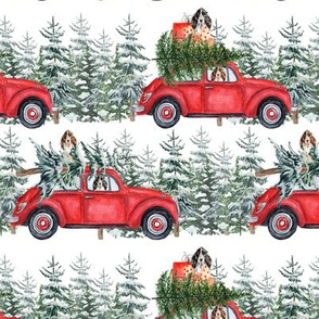 "6"" Holiday Christmas Tree Car and cocker spaniels in Woodland, christmas fabric, cocker dog fabric 2"