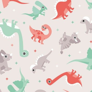 Sweet dinosaur friends adorable baby dino for boys gender neutral mint coral