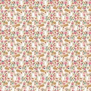 TINY - corgi florals pet dog welsh corgi pembroke corgi flowers girls pastel vintage florals spring dog fabric print