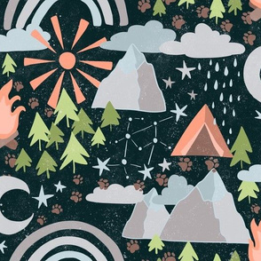 Adventure Trails - paw prints among trees, camp fire, rainbow, stars, and tent