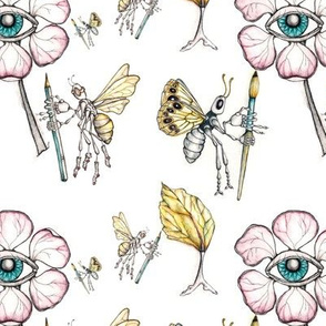 Drawing in the garden with butterfly and bee