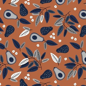 Sweet summer avocado leaves and botanical vegan branch and flowers  autumn garden navy blue brown