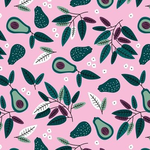 Sweet summer avocado leaves and botanical vegan branch and flowers  autumn garden green pink