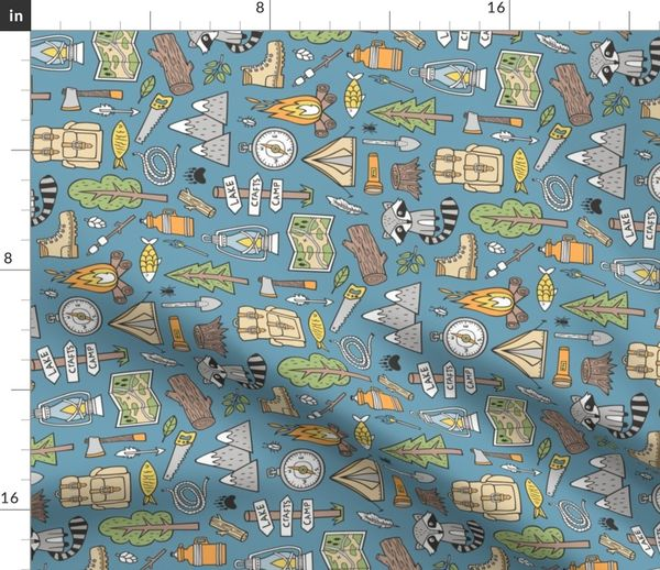 Fabric By The Yard Outdoors Camping Woodland Doodle With Campfire Raccoon Mountains Trees Logs On Dark Blue Navy Rotated