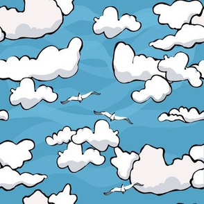 Puffy clouds sky seagulls
