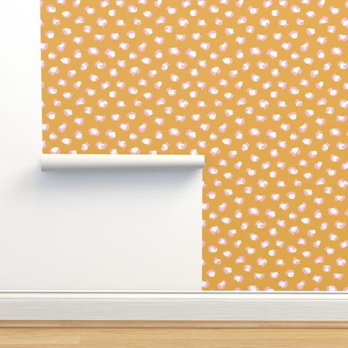 Wallpaper Trendy Leopard Print Animals Fur Modern Scandinavian Style Raw Brush Abstract Pale Pink Ochre Yellow Autumn