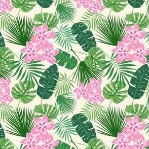 Tropical Leaves and frangipani_ lime pink