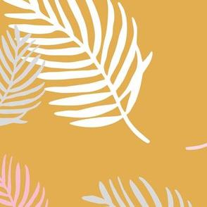 Sweet pastel palm leaf surf island summer vibes boho garden ochre pink girls JUMBO