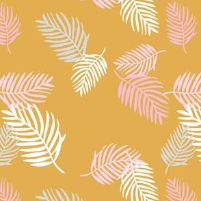 Sweet pastel palm leaf surf island summer vibes boho garden ochre pink girls