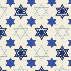 Star of David Blue on Cream background