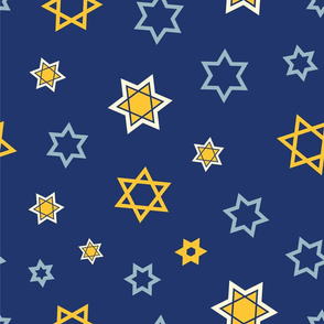 Star of David Pattern Mix on Dark Blue