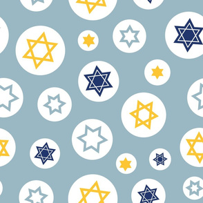 Star of David in Circles on light blue background