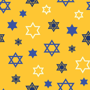 Scattered Star of David on Yellow background