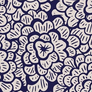 Whimsical Floral - Navy - Large Scale