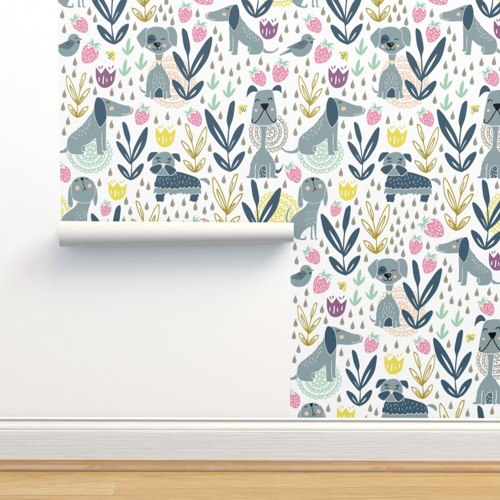 Isobar Durable Wallpaper featuring Puppies and a strawberry garden by daisies_and_design