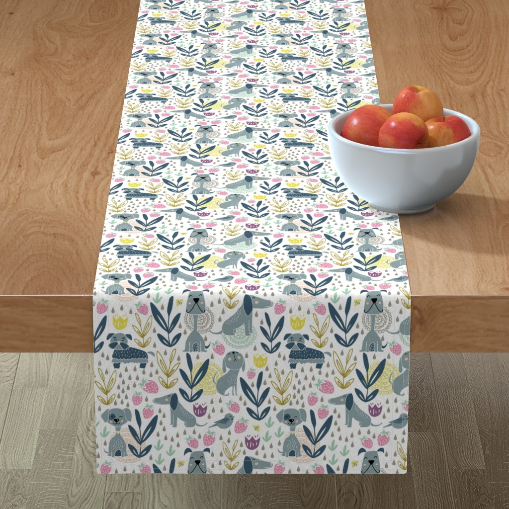 Minorca Table Runner featuring Puppies and a strawberry garden by daisies_and_design
