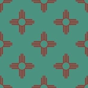 New Mexican Zia Sun Symbols in Sage + Terracotta Red