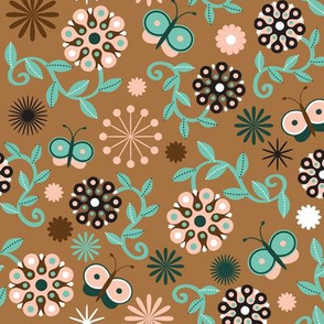 Abstract Flower Coordinate, brown background