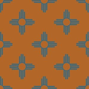 New Mexican Zia Sun Symbols in Earth Brown + Turquoise