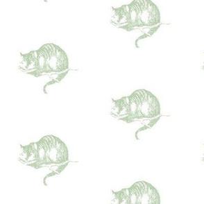 Cheshire Cat Wonderland Sage Green on White