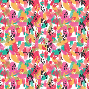 Bright Brushtrokes and Splatter in Turquoise, Green Pink, Black, Yellow and Red
