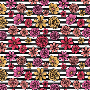 Bright Watercolor Flowers on Black and White Stripe