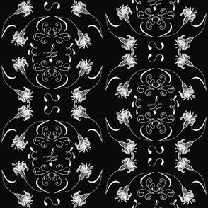 Ornamental white lilies on black