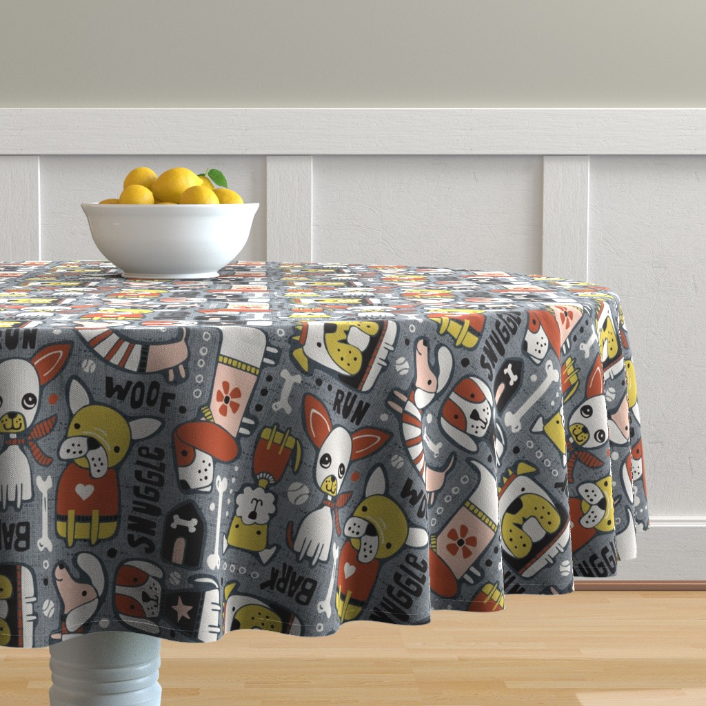 Malay Round Tablecloth featuring Dog-O-Rama - Grey & Blush Pink Large Scale by heatherdutton