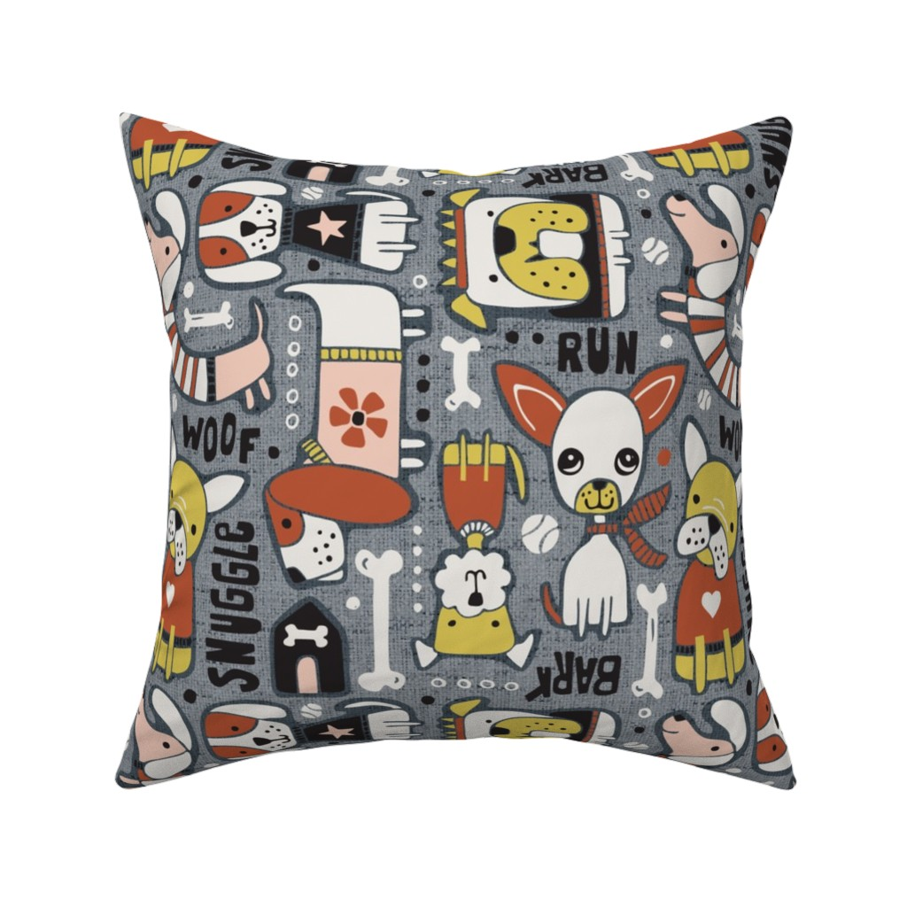 Catalan Throw Pillow featuring Dog-O-Rama - Grey & Blush Pink Large Scale by heatherdutton