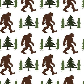 Bigfoot in Trees Green Brown V2