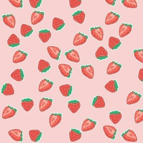 Small scale Scatter Strawberries on Pastel pink