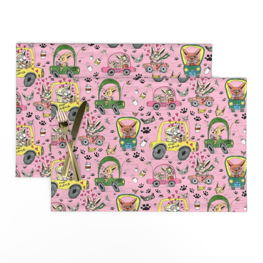 Lamona Cloth Placemats featuring chihuahuas in cars drinking coffee, large scale, pink by amy_g