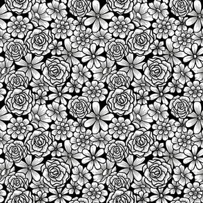 Allover Black and White Modern Flowers