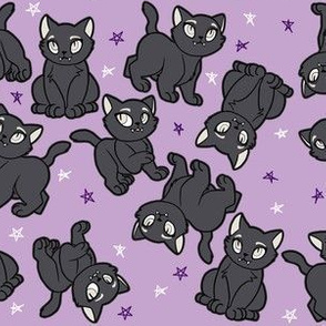 Cute Black Cats on Purple