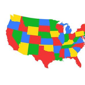 Centered single contintental U.S., bright primary colors