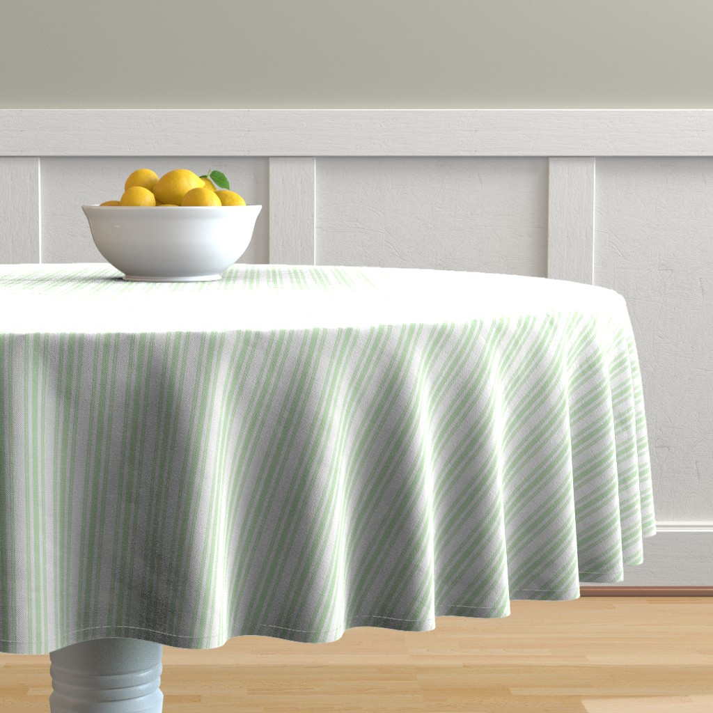 Malay Round Tablecloth featuring Trendy Large Spearmint Mint Pastel Green French Mattress Ticking Double Stripes by paper_and_frill