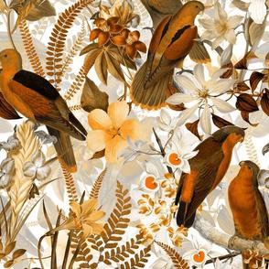 12 Vintage Parrot Tropical Garden Jungle Sepia