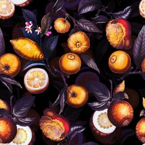 """18"""" Delicious Vintage Citrus Fruit Pattern Sepia Purple"""