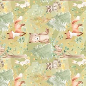 """12""""Woodland Animals - Baby Animals in Forest-green"""