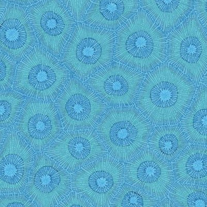 small coral pattern in teal and blue (half scale)