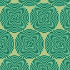 small concentric circles in green-gold