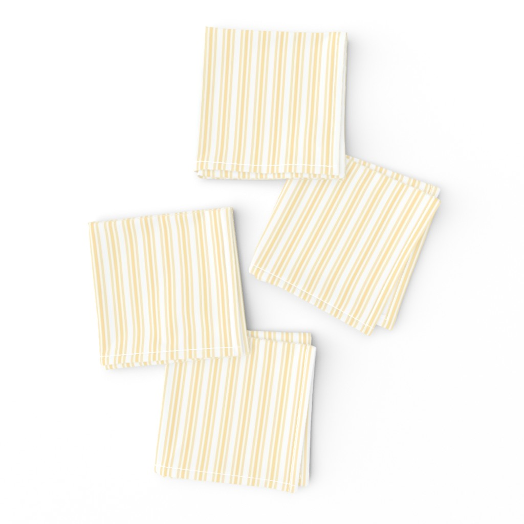 Frizzle Cocktail Napkins featuring Classic Small Buttercup Yellow Pastel Butter French Mattress Ticking Double Stripes by paper_and_frill