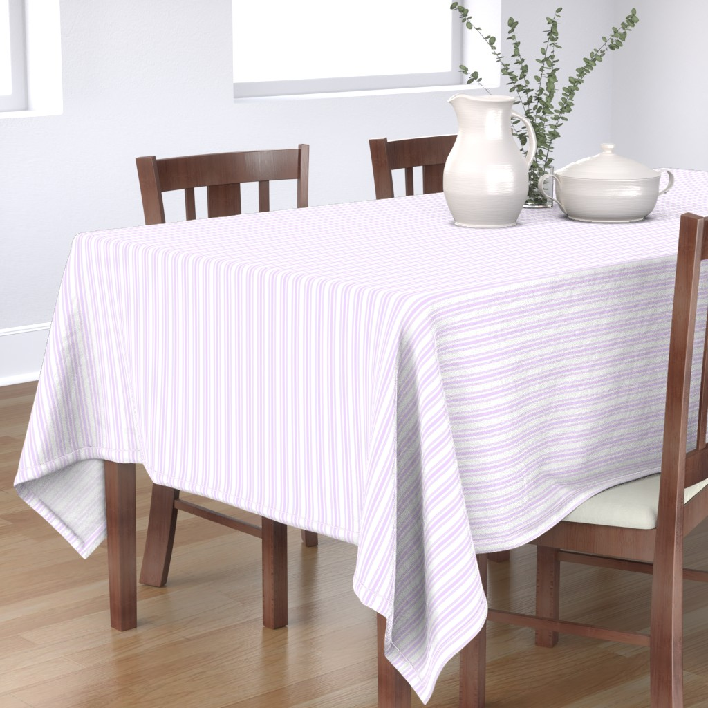 Bantam Rectangular Tablecloth featuring Trendy Large Orchid Lilac  Pastel Purple French Mattress Ticking Double Stripes by paper_and_frill