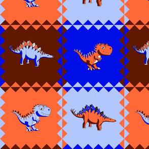 Dino Pop Art - Blue Orange