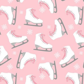 Ice Skates and Snowflakes Pink