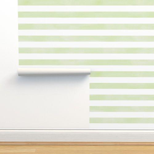 Wallpaper Green And White Watercolor Stripe