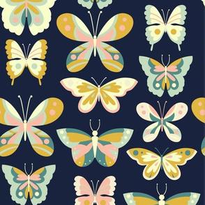 Butterfly - Navy + Mustard