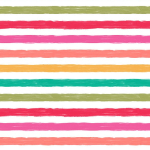 Multi Colored Watercolor Stripe in Red, Pink, Coral, Turquoise, Green and White